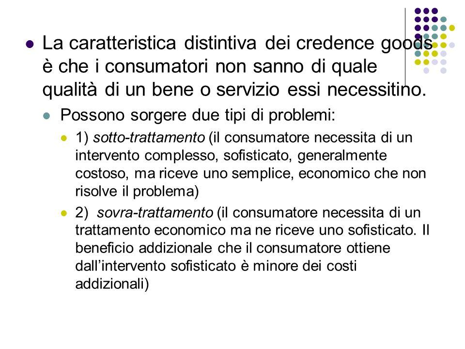 La caratteristica distintiva dei credence goods è che i consumatori non sanno di quale qualità di un bene o servizio essi necessitino.