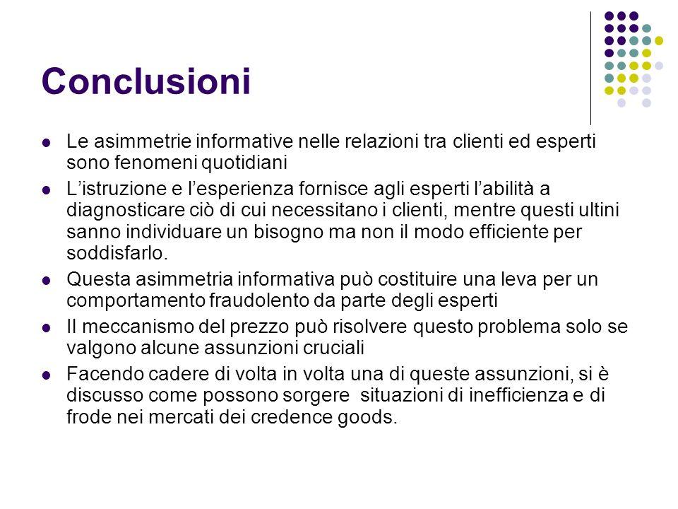 Conclusioni Le asimmetrie informative nelle relazioni tra clienti ed esperti sono fenomeni quotidiani.