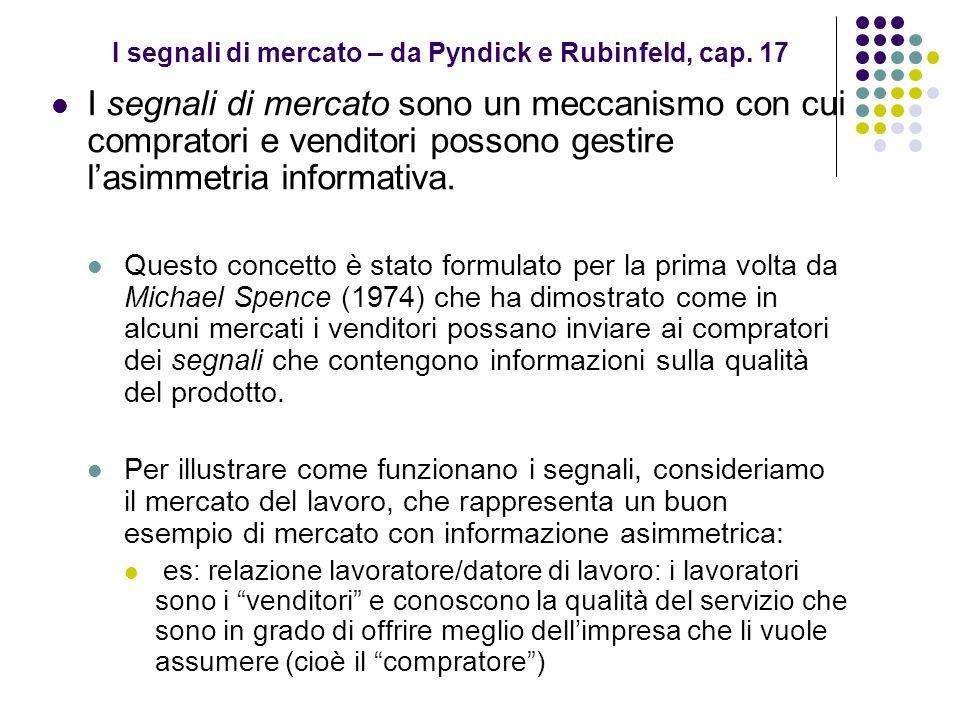 I segnali di mercato – da Pyndick e Rubinfeld, cap. 17