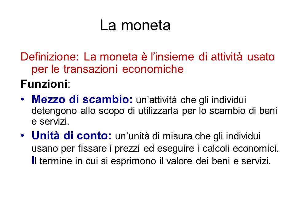 La moneta Definizione: La moneta è l'insieme di attività usato per le transazioni economiche. Funzioni: