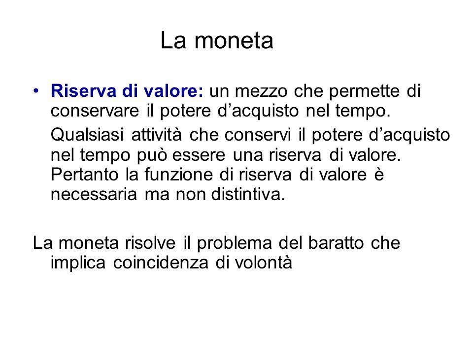 La monetaRiserva di valore: un mezzo che permette di conservare il potere d'acquisto nel tempo.