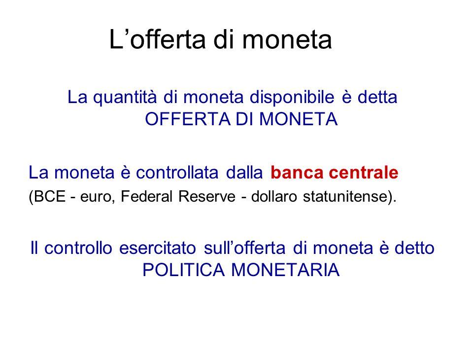 La quantità di moneta disponibile è detta OFFERTA DI MONETA