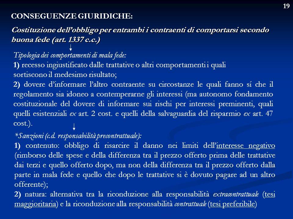 CONSEGUENZE GIURIDICHE: