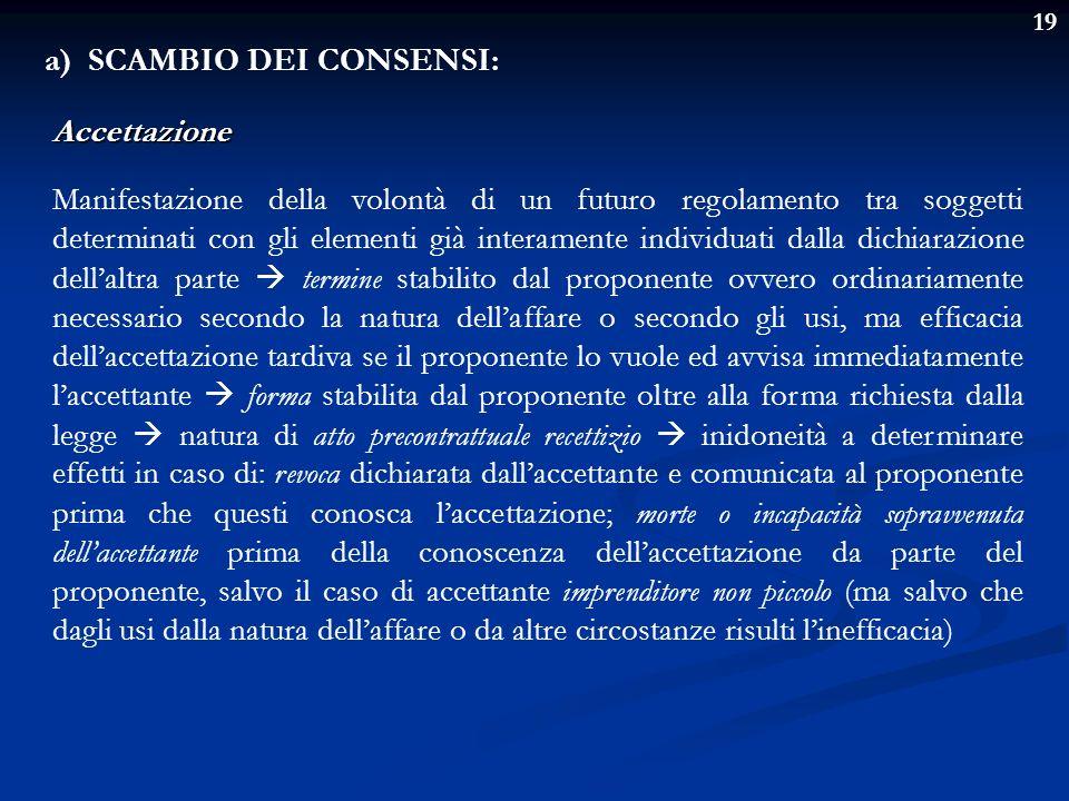 a) SCAMBIO DEI CONSENSI: