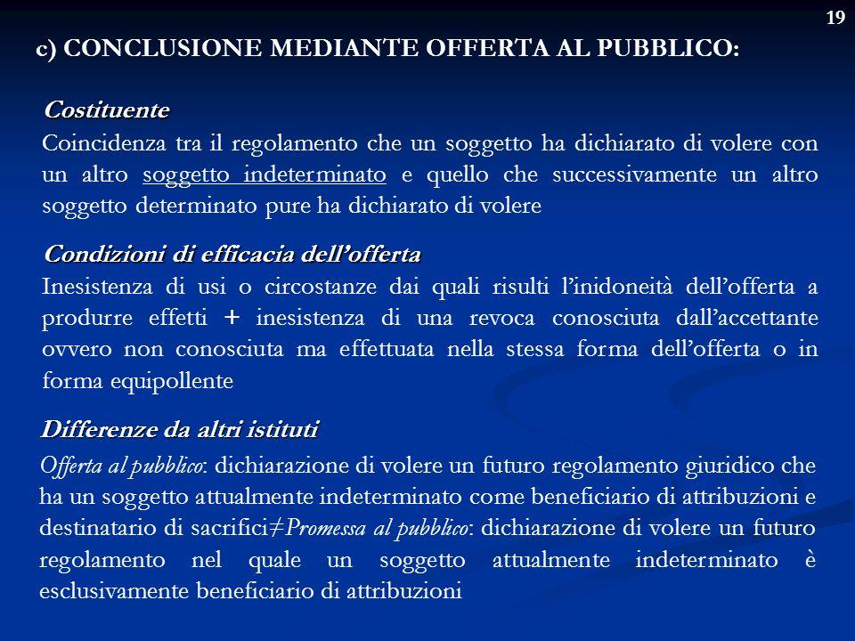 c) CONCLUSIONE MEDIANTE OFFERTA AL PUBBLICO: