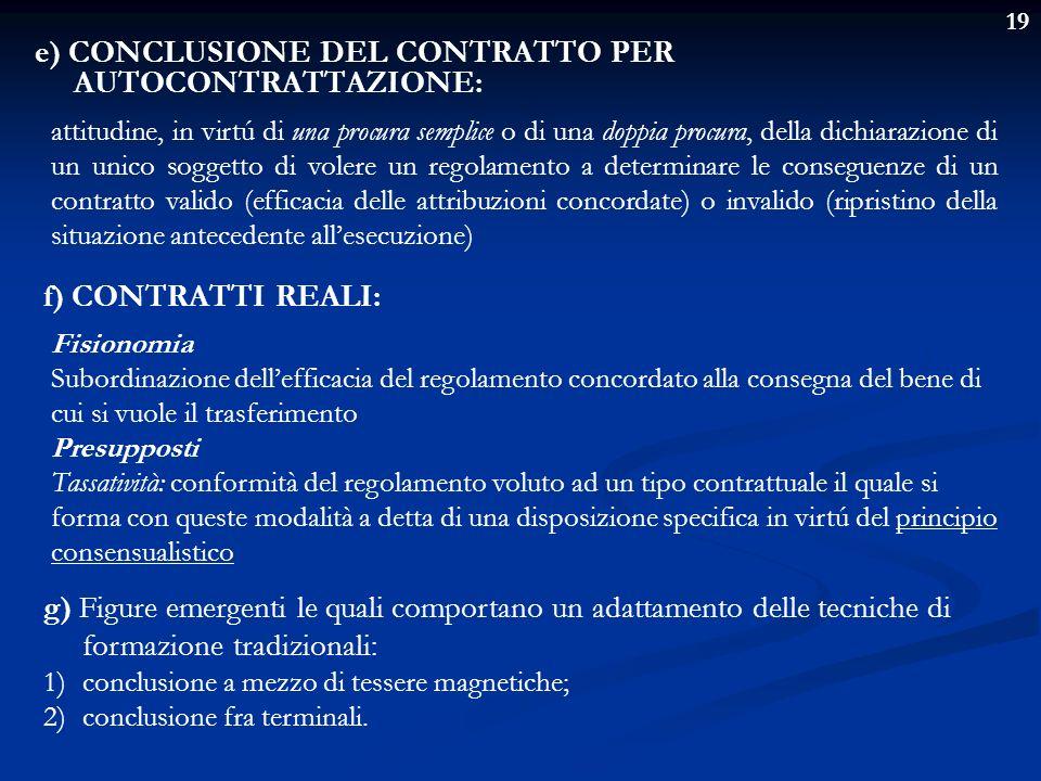 e) CONCLUSIONE DEL CONTRATTO PER AUTOCONTRATTAZIONE: