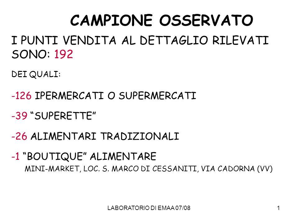 CAMPIONE OSSERVATO I PUNTI VENDITA AL DETTAGLIO RILEVATI SONO: 192