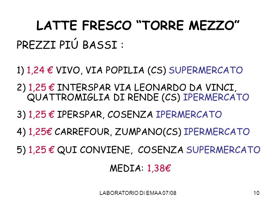 LATTE FRESCO TORRE MEZZO