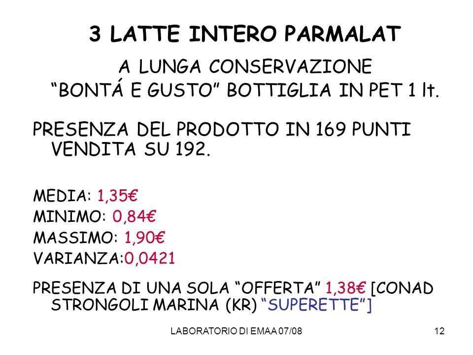 3 LATTE INTERO PARMALAT A LUNGA CONSERVAZIONE BONTÁ E GUSTO BOTTIGLIA IN PET 1 lt.