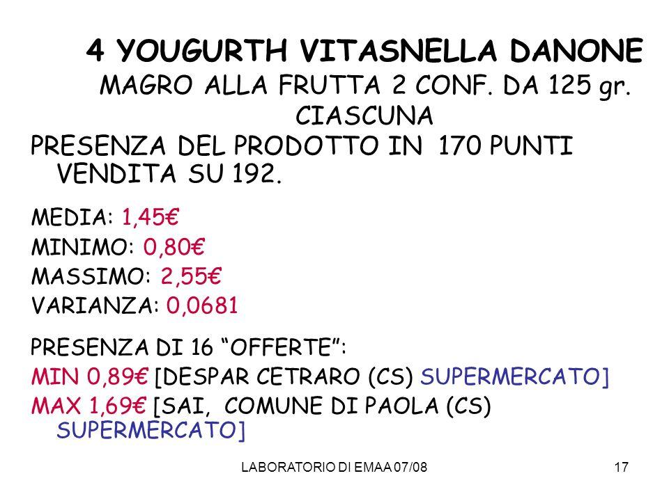 4 YOUGURTH VITASNELLA DANONE MAGRO ALLA FRUTTA 2 CONF. DA 125 gr