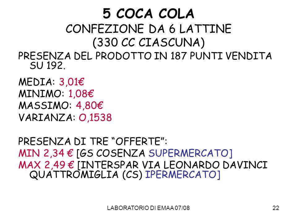 5 COCA COLA CONFEZIONE DA 6 LATTINE (330 CC CIASCUNA)