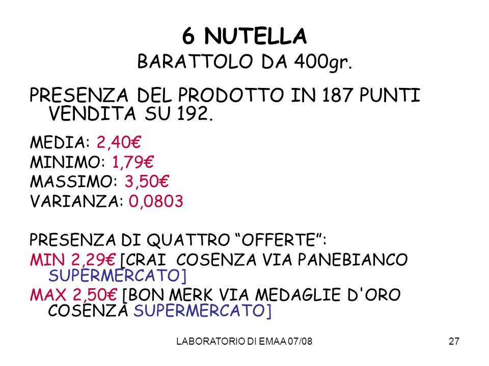 6 NUTELLA BARATTOLO DA 400gr.