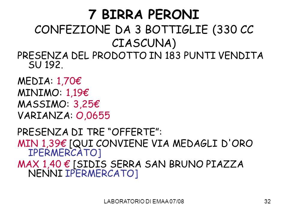 7 BIRRA PERONI CONFEZIONE DA 3 BOTTIGLIE (330 CC CIASCUNA)