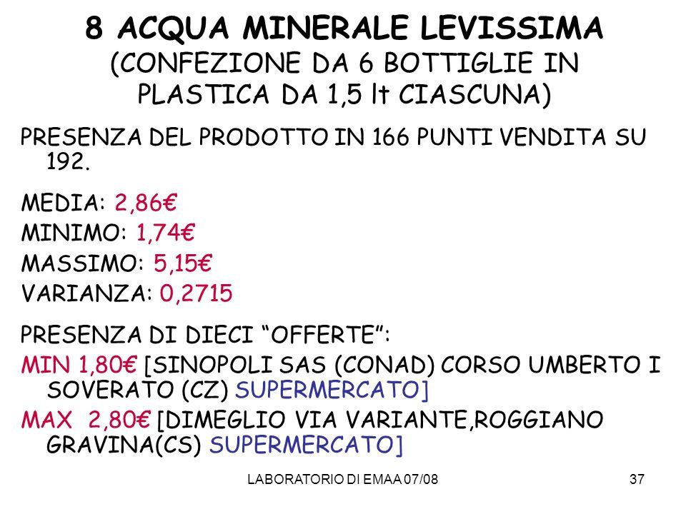 8 ACQUA MINERALE LEVISSIMA (CONFEZIONE DA 6 BOTTIGLIE IN PLASTICA DA 1,5 lt CIASCUNA)