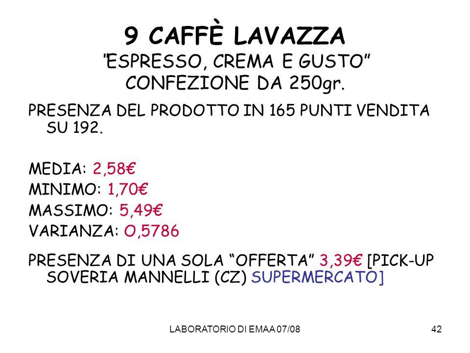 9 CAFFÈ LAVAZZA ESPRESSO, CREMA E GUSTO CONFEZIONE DA 250gr.