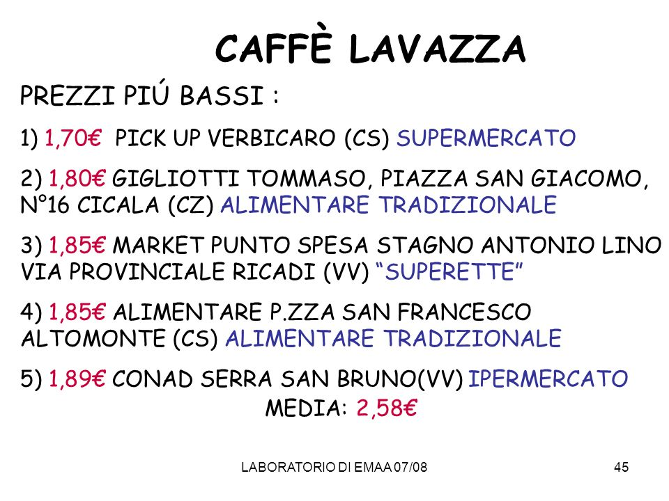 CAFFÈ LAVAZZA PREZZI PIÚ BASSI :