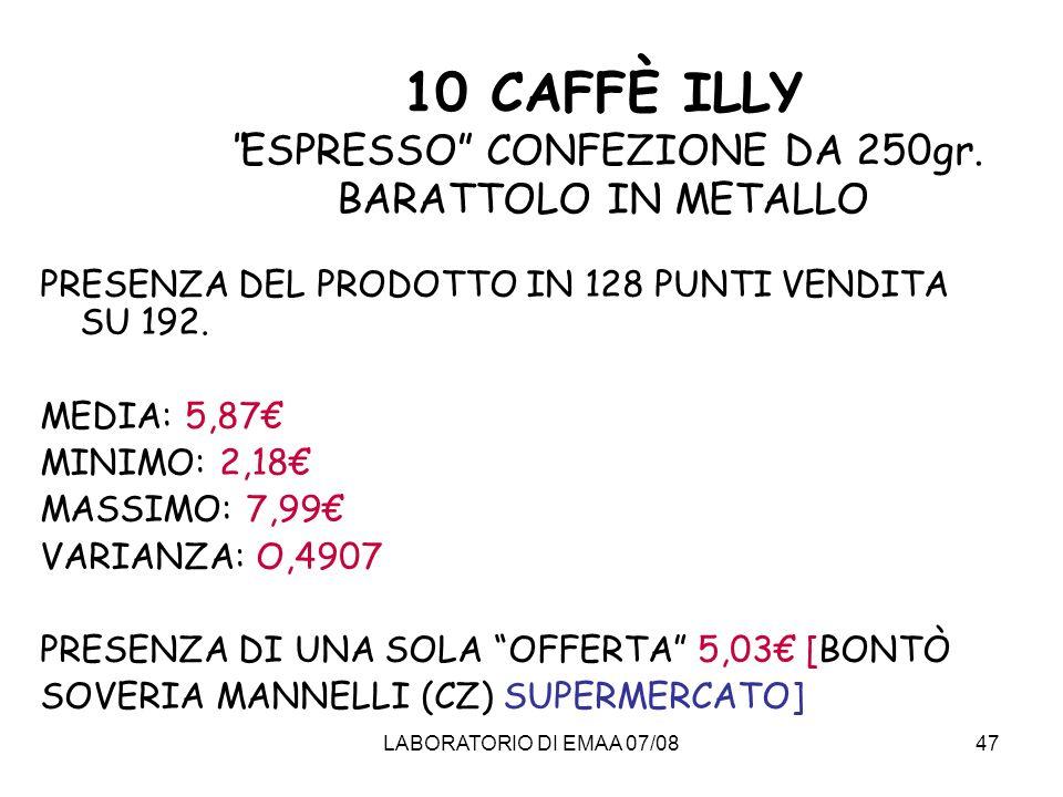 10 CAFFÈ ILLY ESPRESSO CONFEZIONE DA 250gr. BARATTOLO IN METALLO