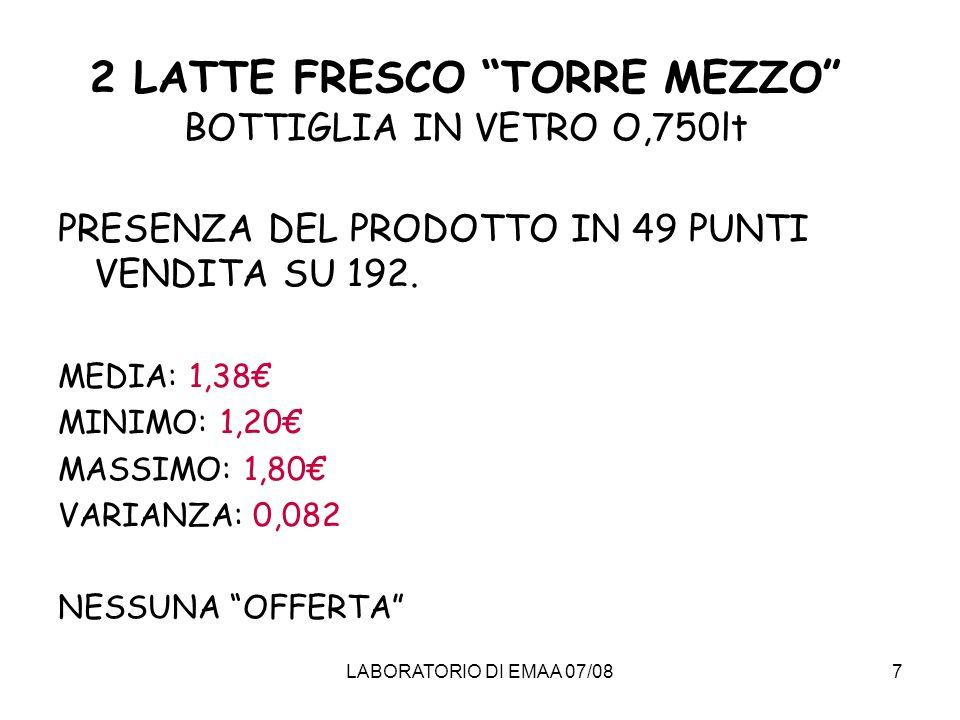 2 LATTE FRESCO TORRE MEZZO BOTTIGLIA IN VETRO O,750lt