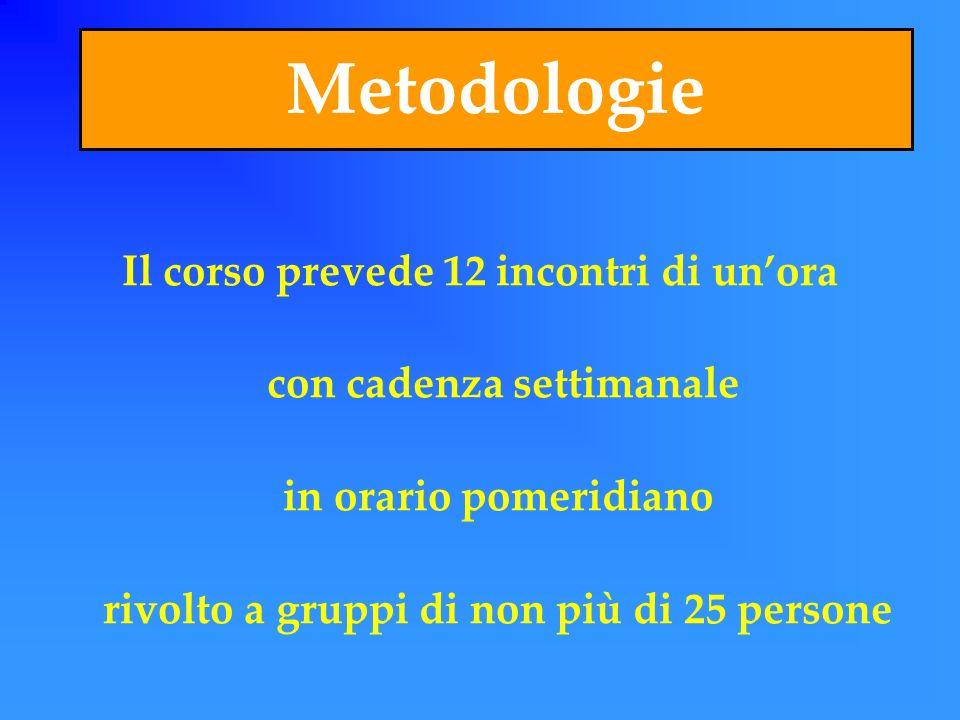 Metodologie Il corso prevede 12 incontri di un'ora