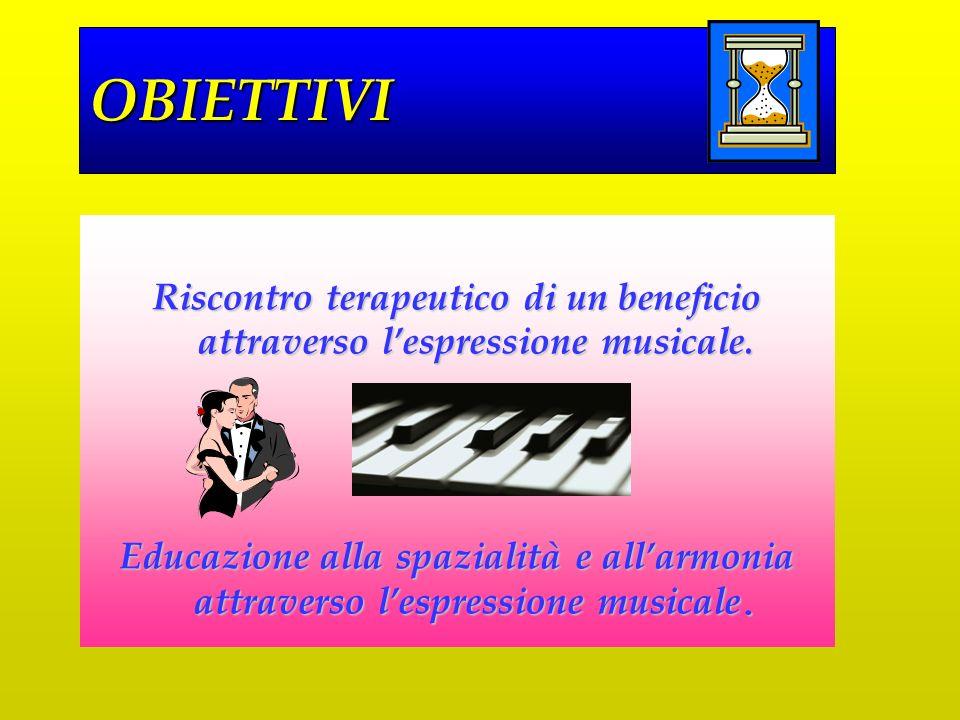 OBIETTIVI Riscontro terapeutico di un beneficio attraverso l'espressione musicale.