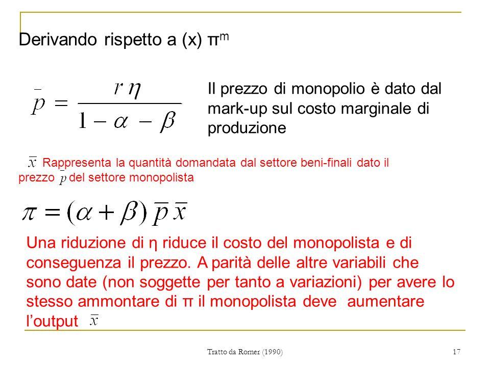 Derivando rispetto a (x) πm