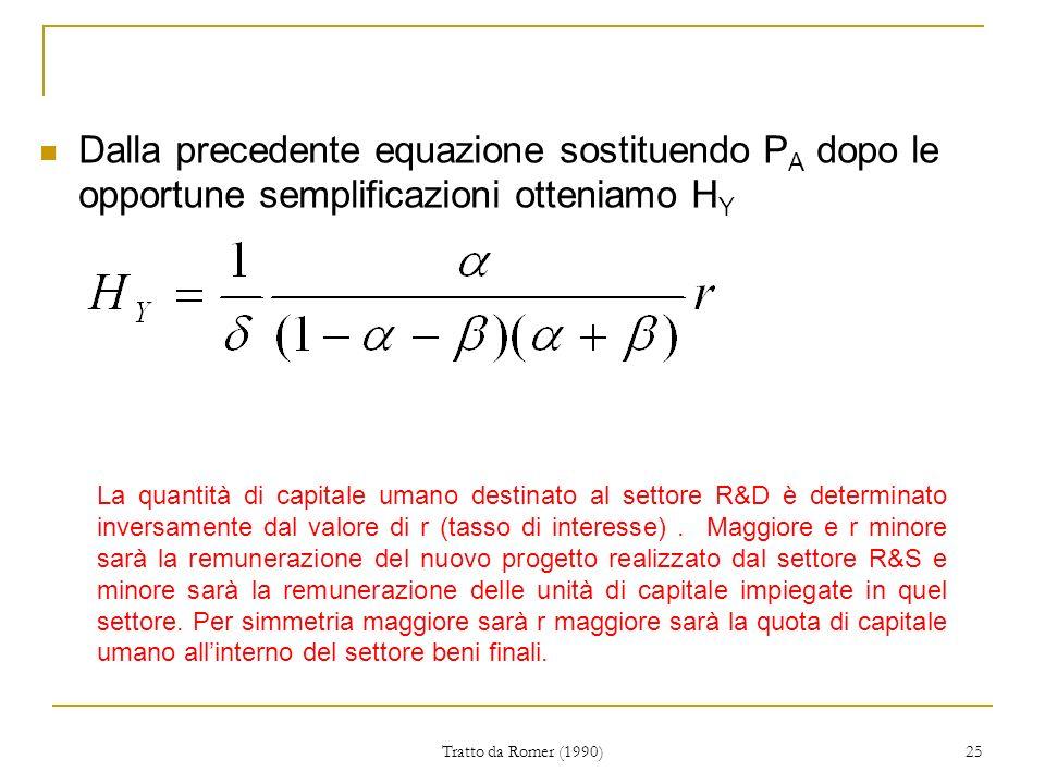 Dalla precedente equazione sostituendo PA dopo le opportune semplificazioni otteniamo HY