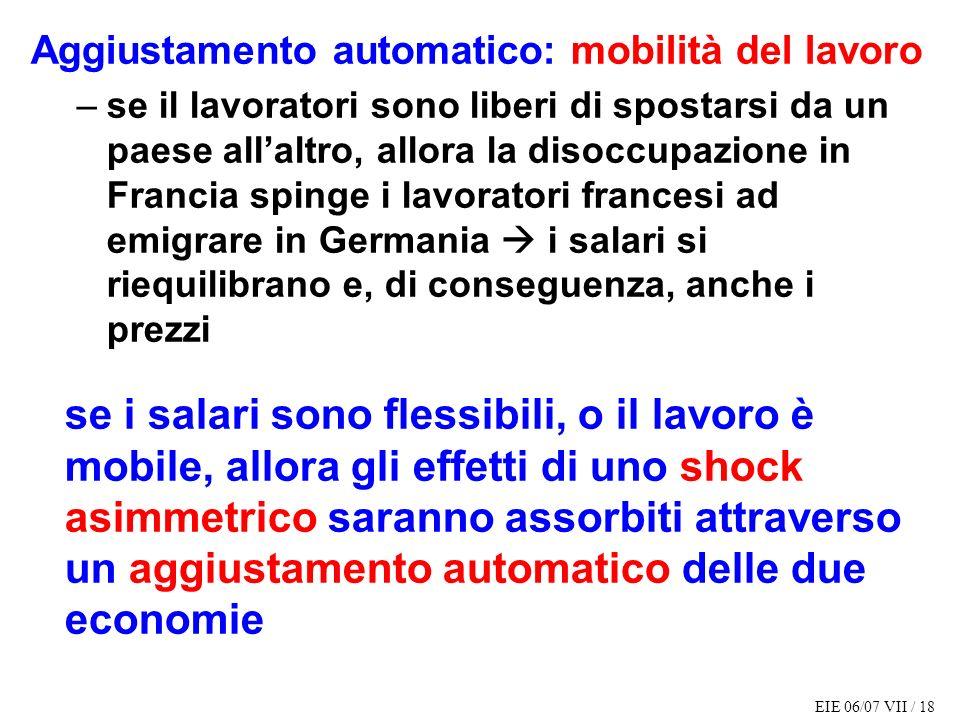 Aggiustamento automatico: mobilità del lavoro