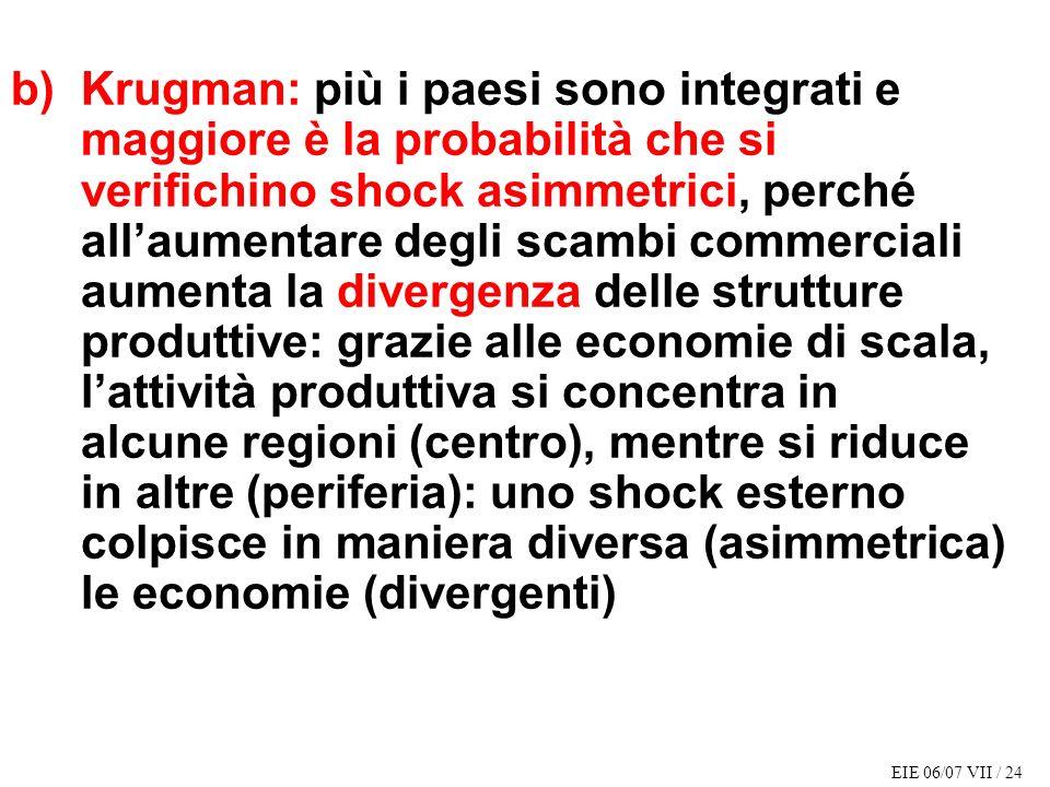b) Krugman: più i paesi sono integrati e maggiore è la probabilità che si verifichino shock asimmetrici, perché all'aumentare degli scambi commerciali aumenta la divergenza delle strutture produttive: grazie alle economie di scala, l'attività produttiva si concentra in alcune regioni (centro), mentre si riduce in altre (periferia): uno shock esterno colpisce in maniera diversa (asimmetrica) le economie (divergenti)