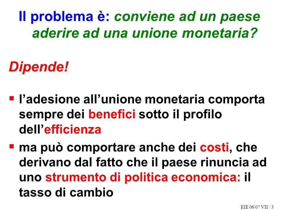 Il problema è: conviene ad un paese aderire ad una unione monetaria