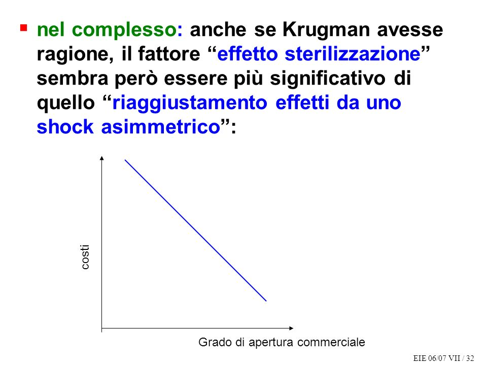 nel complesso: anche se Krugman avesse ragione, il fattore effetto sterilizzazione sembra però essere più significativo di quello riaggiustamento effetti da uno shock asimmetrico :