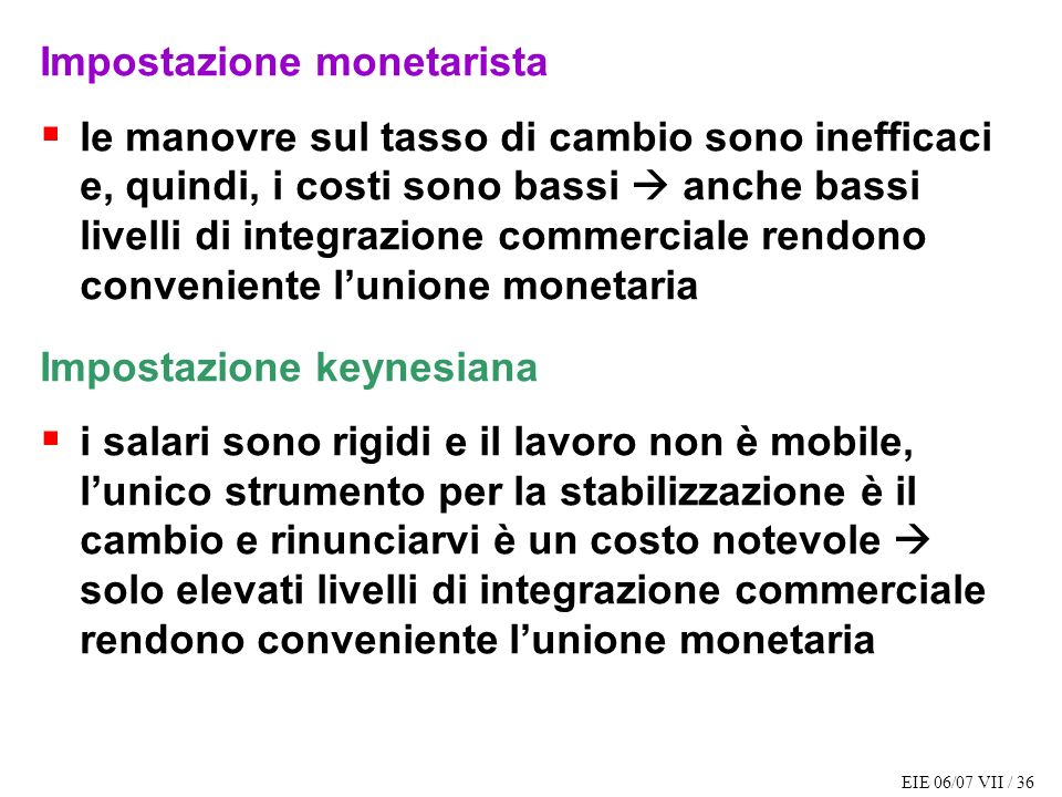 Impostazione monetarista
