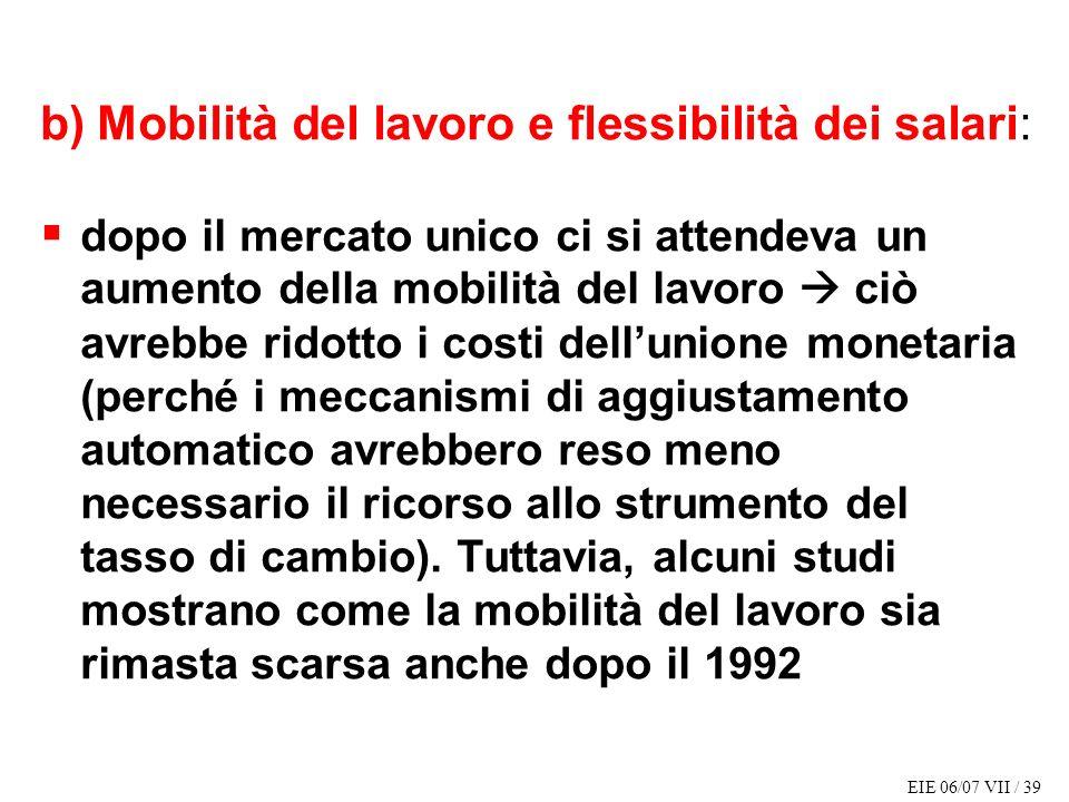 b) Mobilità del lavoro e flessibilità dei salari: