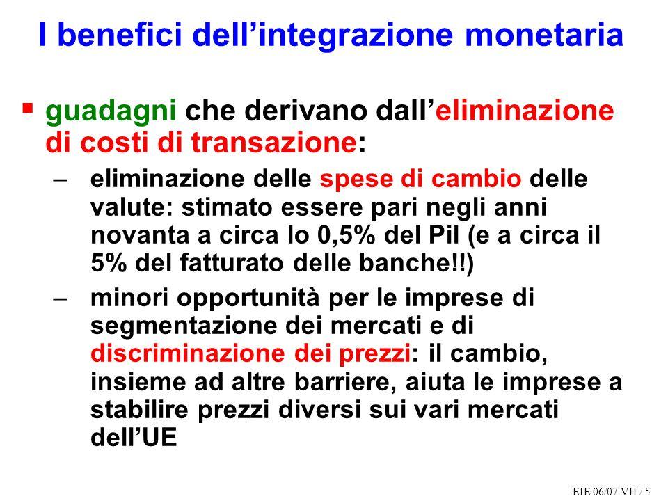 I benefici dell'integrazione monetaria