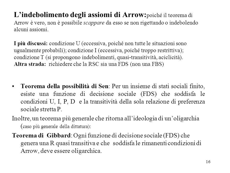 L'indebolimento degli assiomi di Arrow:poiché il teorema di Arrow è vero, non è possibile scappare da esso se non rigettando o indebolendo alcuni assiomi. I più discussi: condizione U (eccessiva, poiché non tutte le situazioni sono ugualmente probabili); condizione I (eccessiva, poiché troppo restrittiva); condizione T (si propongono indebolimenti, quasi-transitività, aciclicità). Altra strada: richiedere che la RSC sia una FDS (non una FBS)