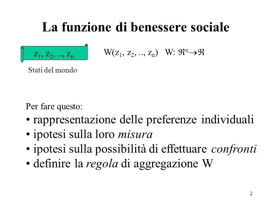 La funzione di benessere sociale