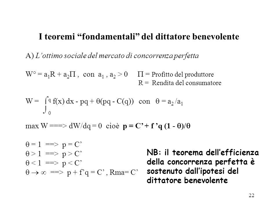 I teoremi fondamentali del dittatore benevolente
