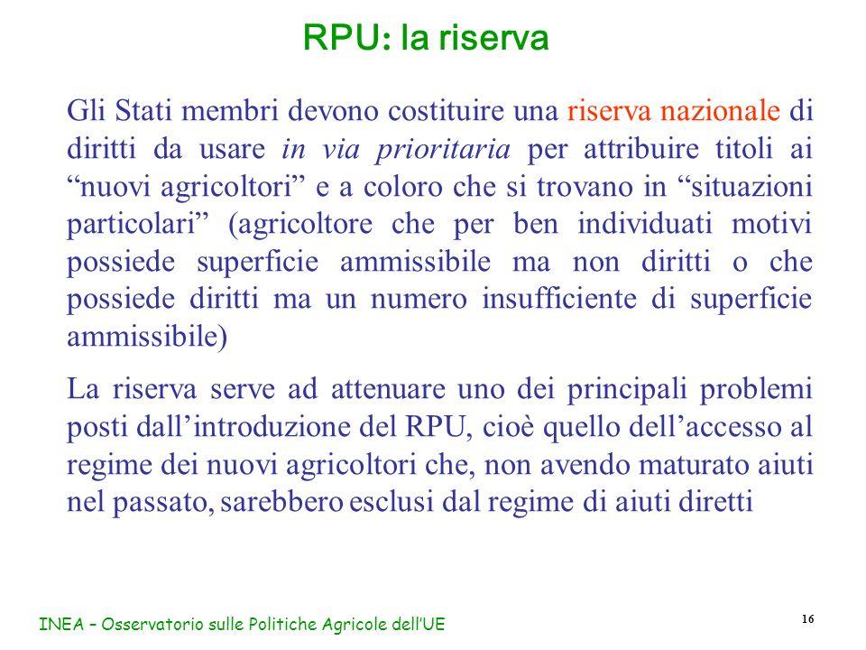 INEA – Osservatorio sulle Politiche Agricole dell'UE