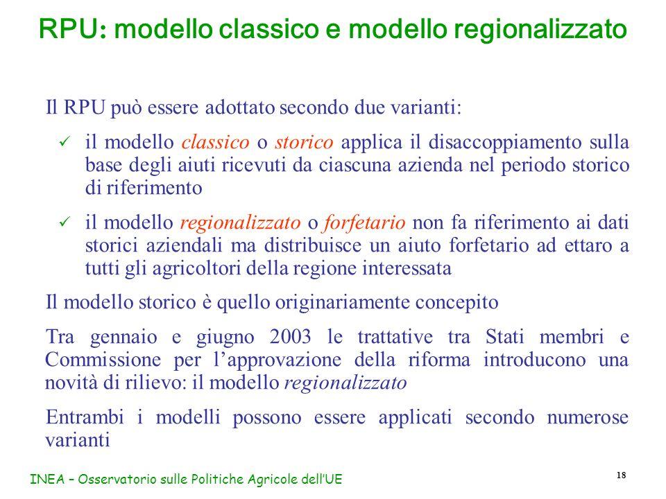 RPU: modello classico e modello regionalizzato