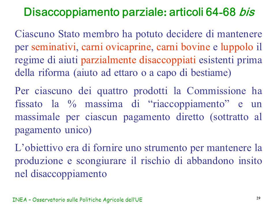 Disaccoppiamento parziale: articoli 64-68 bis