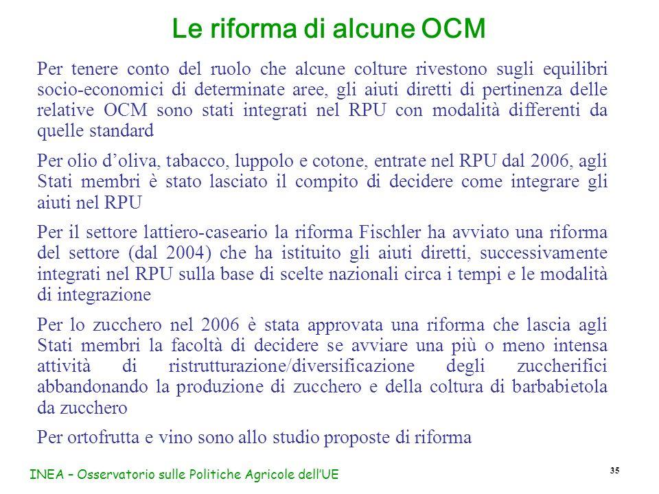 Le riforma di alcune OCM