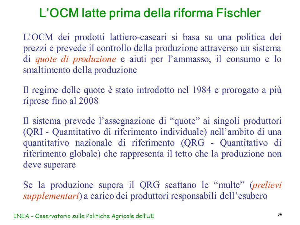 L'OCM latte prima della riforma Fischler