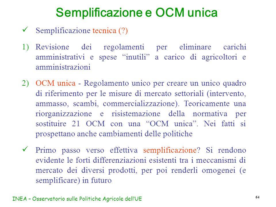 Semplificazione e OCM unica