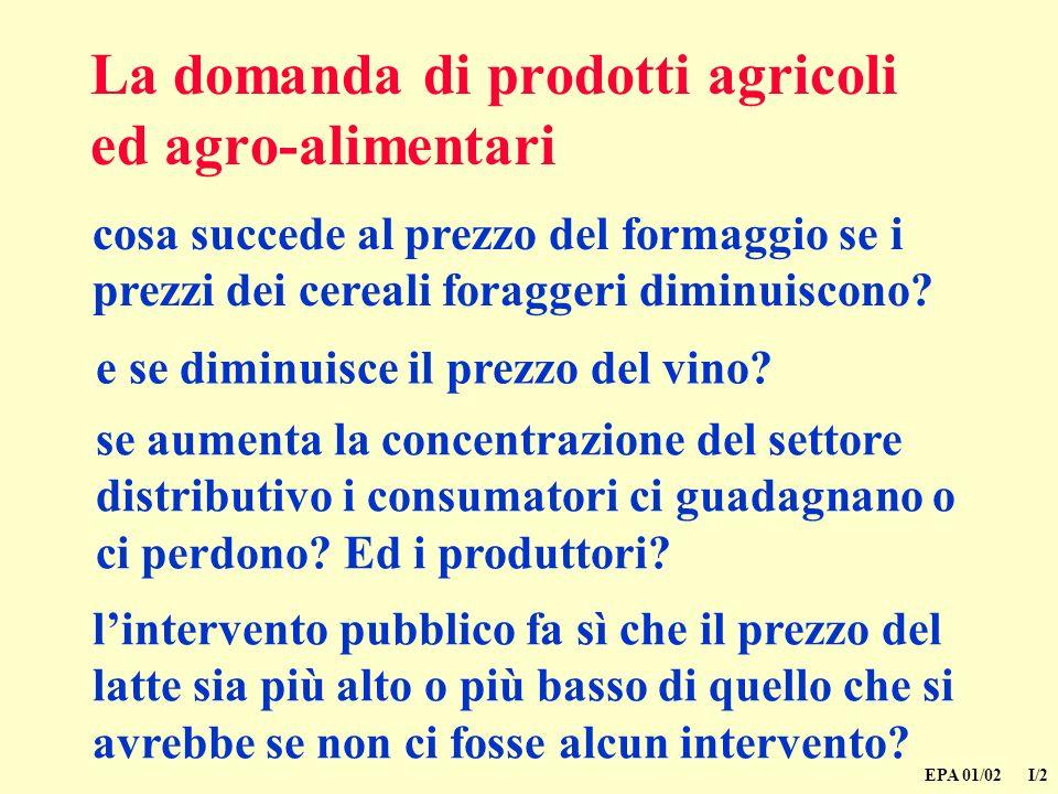 La domanda di prodotti agricoli ed agro-alimentari