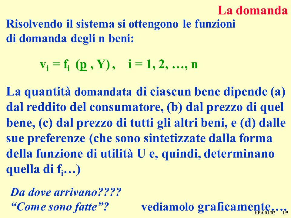 La domanda vi = fi (p , Y) , i = 1, 2, …, n