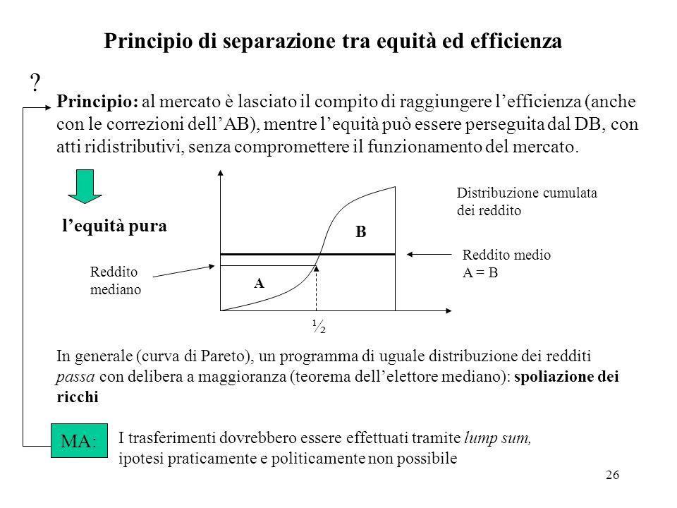 Principio di separazione tra equità ed efficienza
