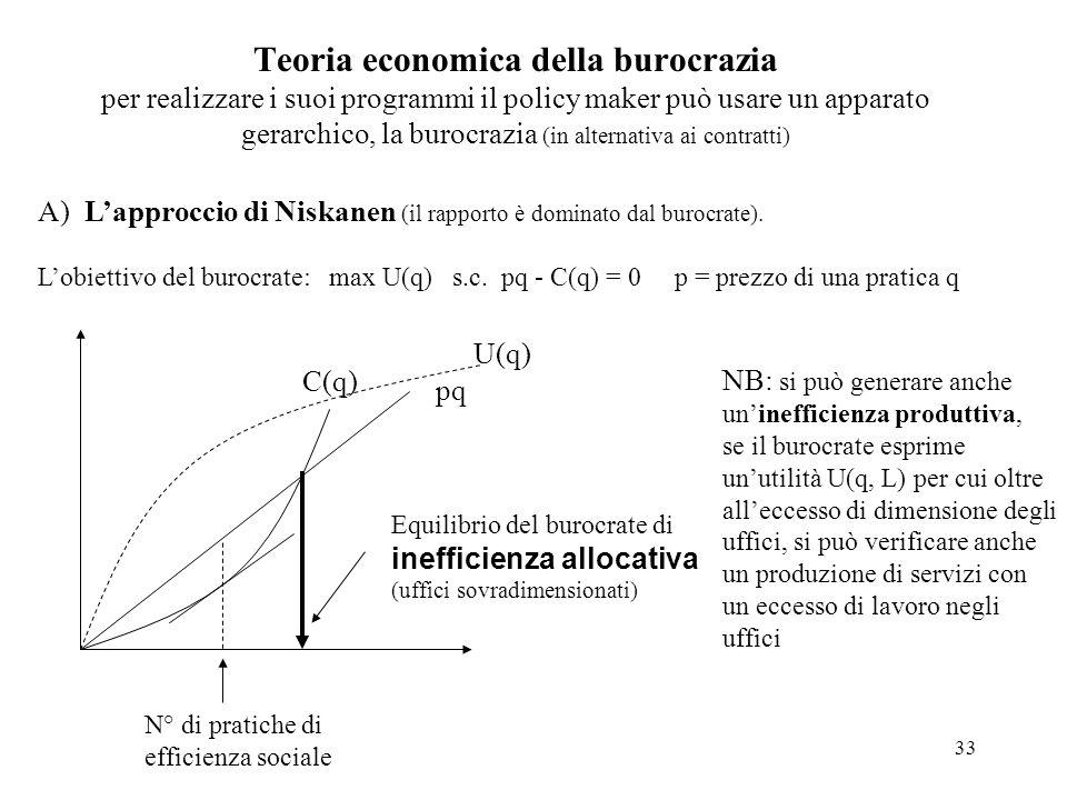 Teoria economica della burocrazia per realizzare i suoi programmi il policy maker può usare un apparato gerarchico, la burocrazia (in alternativa ai contratti)