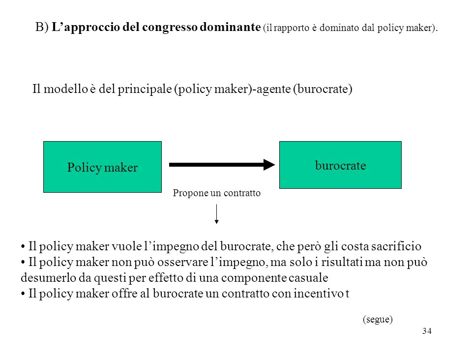 Il modello è del principale (policy maker)-agente (burocrate)