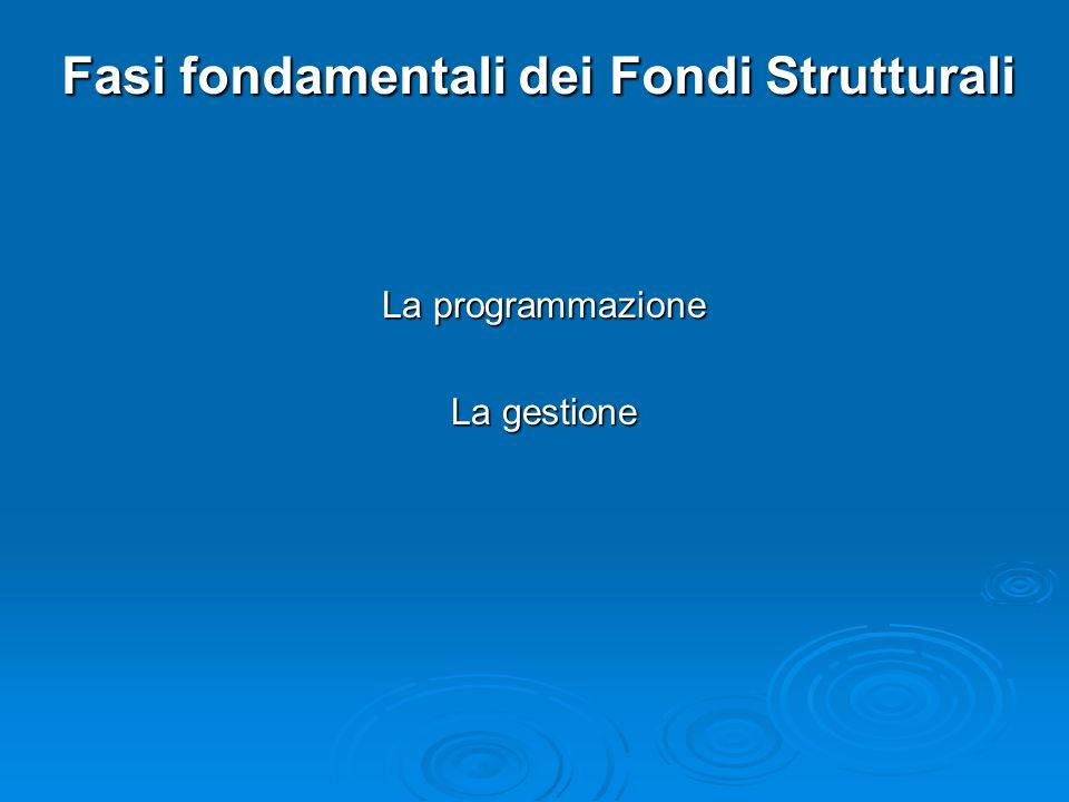 Fasi fondamentali dei Fondi Strutturali