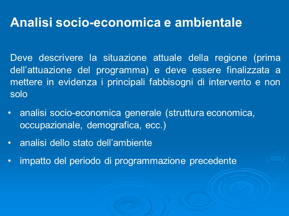 Analisi socio-economica e ambientale