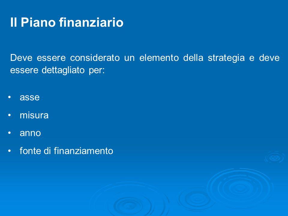 Il Piano finanziario Deve essere considerato un elemento della strategia e deve essere dettagliato per:
